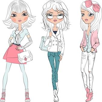 Вектор красивые модные девушки топ-модели