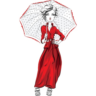Vector beautiful fashion hipster girl top model in autumn clothes, red jacket and skirt with umbrella
