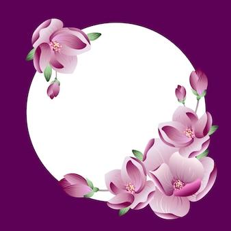 결혼식 또는 인사말 카드에 대 한 텍스트 또는 사진에 대 한 장소 아름 다운 프레임 그라데이션 핑크 목련 꽃 화 환 벡터