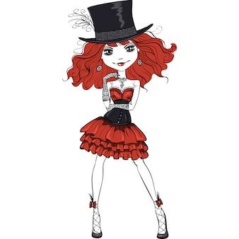 스 칼 렛 머리를 가진 아름 다운 고트 소녀 블랙과 스 칼 렛 드레스와 실크 모자에 높은 고딕 패션 스타일 입고.