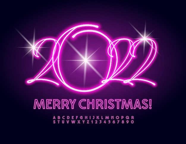 Vector beautiful greeting card merry christmas 2022 pink neon alphabet letters and numbers set