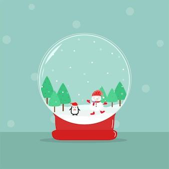 ベクトル美しいメリークリスマススノードーム雪だるまと緑の木と踊るペンギン