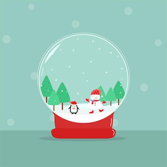 Vector  beautiful merry christmas snow globe snowman and penguin dancing with green tree