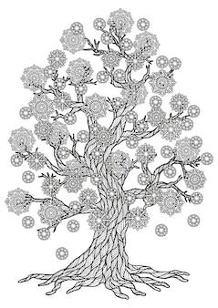 벡터 아름다운 나무 그리기 색칠 페이지