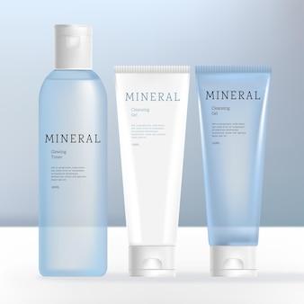 Vector beauty or skincare transparent cream shampoo gel or cream bottle and tube bundle white