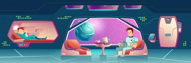 Вектор спальня на космическом корабле