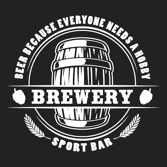 Vector beer barrel badge for dark background.