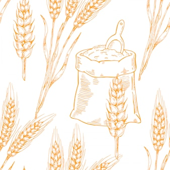 Vector beer seamless pattern illustration ears of wheat.