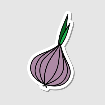 Vector beetroot sticker in cartoon style flat vegetable icon with black lines