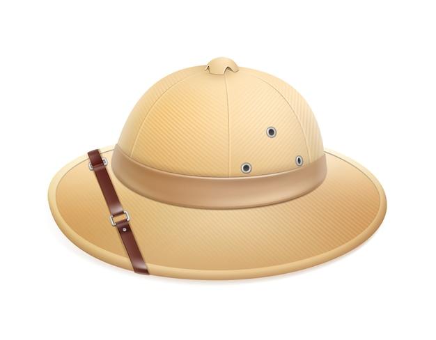 白い背景で隔離ベルトとベクトルベージュアドベンチャーサファリ帽子
