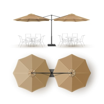 Vector beige blank patio double outdoor beach cafe bar pub lounge restaurant round
