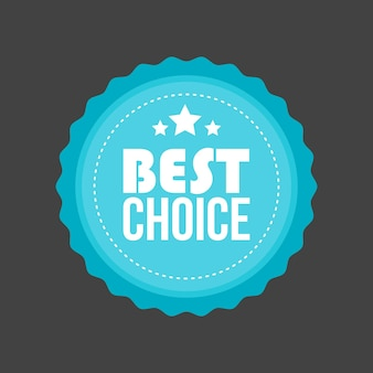 Vector best choice metal flat badge, round label.