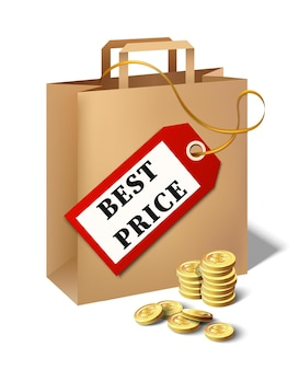 漫画の紙袋の値札と黄金のコインとベクトルの最高の価格のアイコン