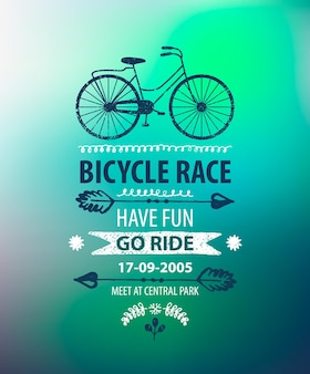 Vector bicycle poster. bike race banner on blurred background