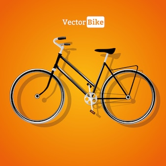 Vector bicycle with drop shadow isolated on orange background, vector eps10 illustration