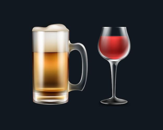Вектор большая стеклянная кружка пива и вина крупным планом, вид сбоку, изолированные на черном фоне