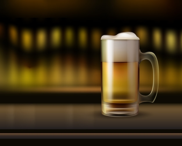Вектор большая стеклянная кружка пива на барной стойке крупным планом, вид сбоку с теплым размытым фоном