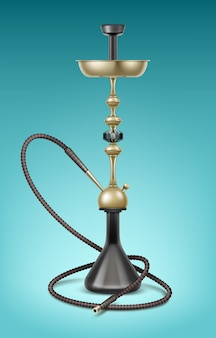 Vector big golden nargile for tobacco smoking made of metal with long hookah hose isolated on blue background