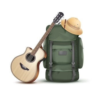 Vector big green backpack with safari hat and guitar isolated on white background