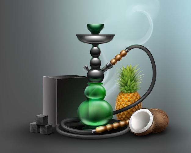Vector big nargile for tobacco smoking made of metal and green glass with long hookah hose, charcoal. pineapple and coconut on dark background