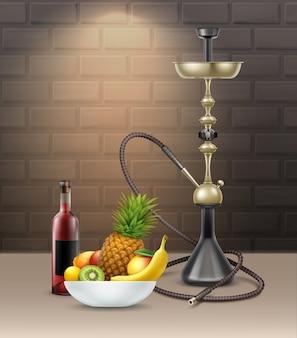 Vector big nargile for tobacco smoking with long hookah hose, bottle of vine, pineapple, banana, kiwi in bowl on brick wall background