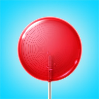 Vector big round pink shiny lollipop on stick isolated on blue background
