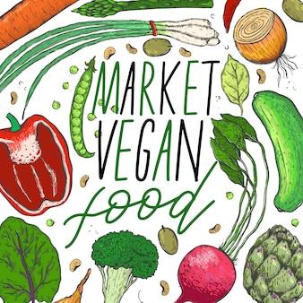 Vector big set of vegetables in a sketch.