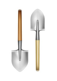 白い背景で隔離の木製ハンドル正面図とベクトルの大きなシャベル