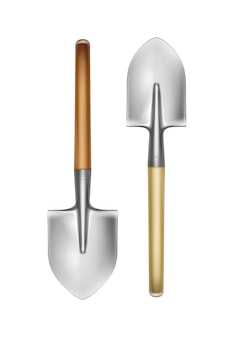 Vector big shovels with wooden handle front view isolated on white background