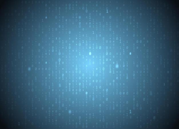 Векторный двоичный код синий фон. взлом больших данных и программирования, глубокое дешифрование и шифрование, номера потоковой передачи данных 1,0. кодирование или концепция хакера.