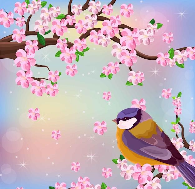 벡터 새 벚꽃 꽃 배경