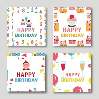 Vector Birthday Cards Illustrations Set