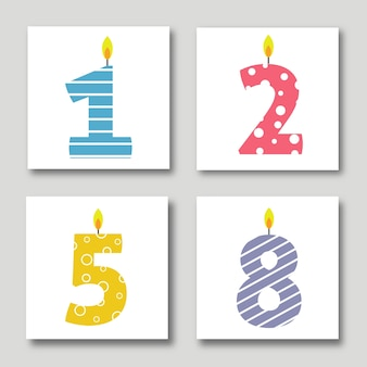 Vector Birthday Cards Illustrations Set