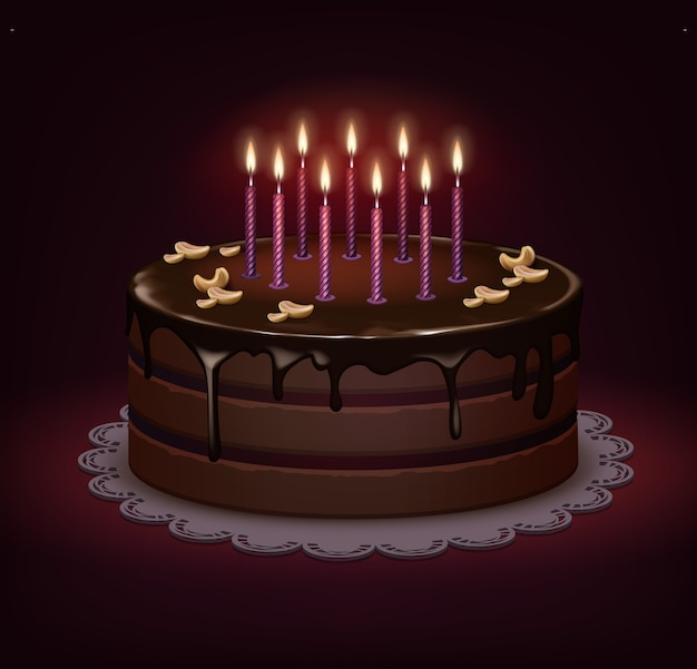 Vector birthday chocolate cake with icing, nuts and nine burning candles on dark background