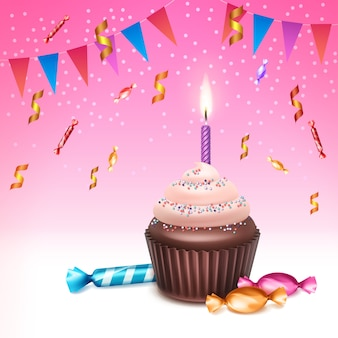 Vector birthday cupcake with whipped cream, sprinkles, burning candle, sweets, confetti and bunting flags on pink background