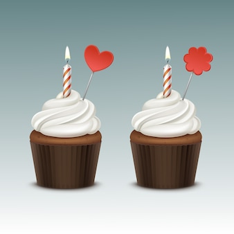 Vector birthday cupcake with white whipped cream and one candle and decoration