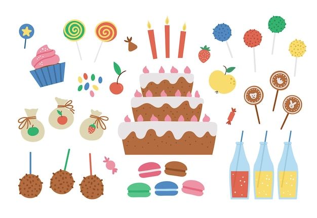 Vector birthday desserts set. cute b-day clipart pack with cake, candles, cupcakes, cake pops, jelly beans. funny sweets illustration for card, poster, print design. bright holiday concept for kids.