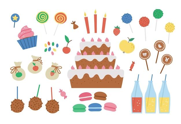 벡터 생일 디저트 세트입니다. 케이크, 양초, 컵케이크, 케이크 팝, 젤리 빈이 있는 귀여운 b-day 클립 아트 팩. 카드, 포스터, 인쇄 디자인을 위한 재미있는 과자 삽화. 아이들을 위한 밝은 휴가 개념.