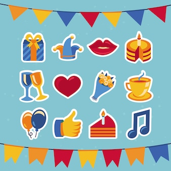 Vector birthday and party icons - collection in retro flat style