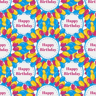 Vector birthday seamless pattern background with colorful balloons