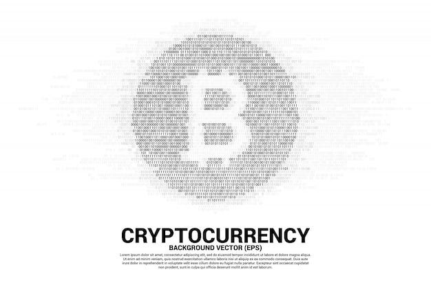 Vector bit coin symbol with one and zero binary code digit matrix