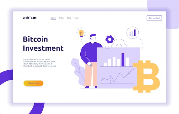 Vector bitcoin investment modern flat line illustration