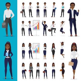 ベクトルブラックアフリカ系アメリカ人ビジネスの男性とオフィスのキャラクターデザインセットを働くビジネスウーマン。