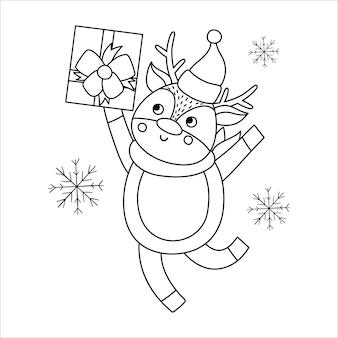 Вектор черно-белый олень в шляпе и шарфе с подарочной коробкой и снежинками. симпатичные зимние животные линии иллюстрации с подарком в руках. забавный дизайн рождественской открытки. новогодний шаблон печати