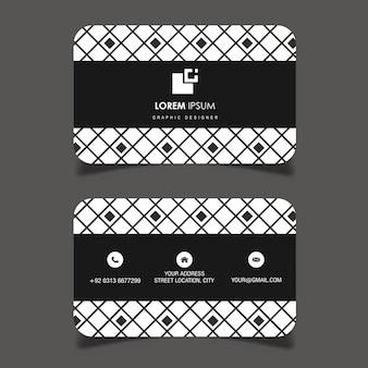 ベクトル黒と白の幾何学模様の名刺