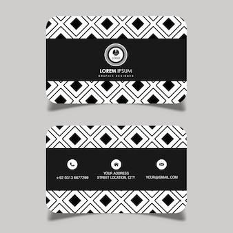 Векторная черно-белая визитная карточка с геометрическим рисунком