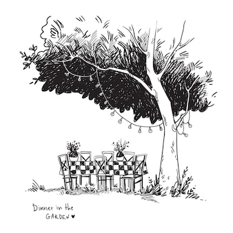 木の下の庭に設置された居心地の良いディナーテーブルのベクトル黒と白の線画