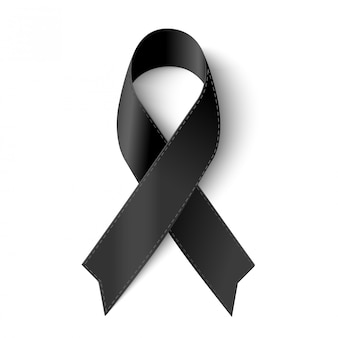 Vector black awareness ribbon with stitch