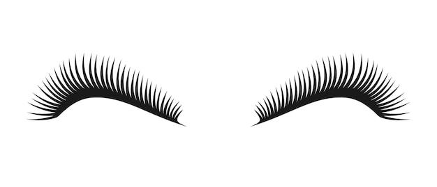 벡터 검은 아름 다운 긴 속눈썹 기호, 여자 눈 속눈썹의 커플