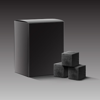 어두운 배경에 고립 된 물 담뱃대 파이프에 대 한 숯 큐브의 벡터 블랙 빈 판지 상자